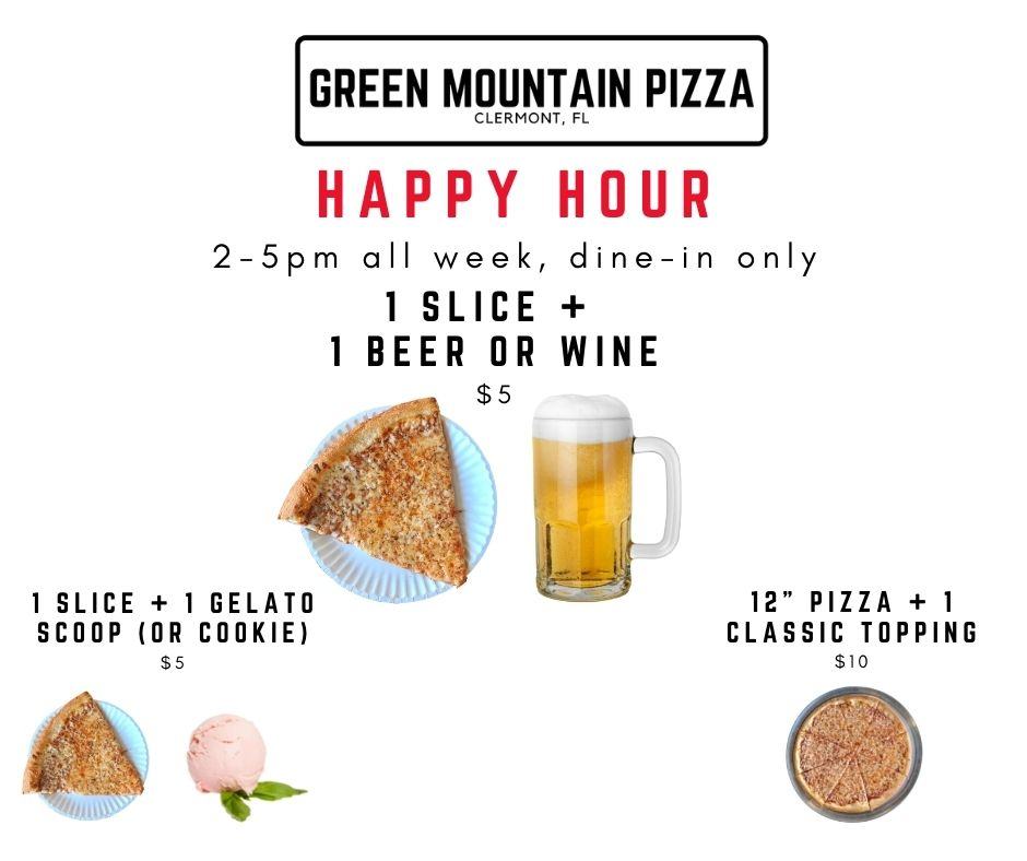 happy hour green mountain pizza 2-5pm